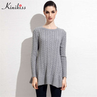 Kinikiss casual black women sweater knitted long sleeve pullover sweater female fashion autumn grey cashmere sweater with ruffle