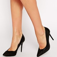 River Island Leather Black Heeled Pumps