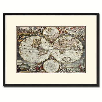 World Hemispheres Vintage Antique Map Wall Art Home Decor Gift Ideas Canvas Print Custom Picture Frame