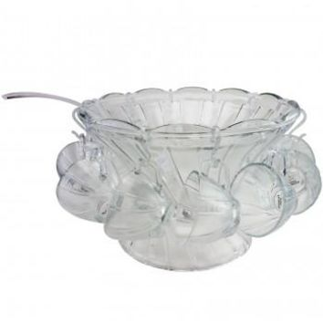 Gibson Home Punchtime 4.6-Quarts Glass Punch Bowl and Cups Set, Set of 27