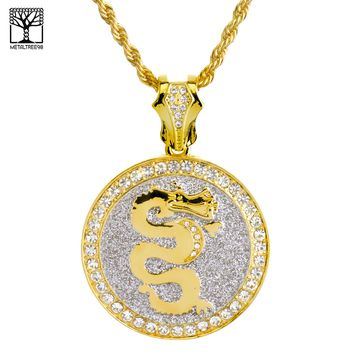 """Jewelry Kay style New Fashion Iced Out DRAGON Medallion 26"""" Heavy Rope Chain Necklace NA 6308 G"""
