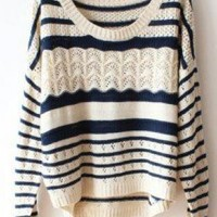 Deep Blue White Loose Hollow Stripeds Sweater