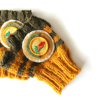 Fingerless mittens, knit mittens, mustard yellow and olive green, fingerless gloves, with girl scout camping badge