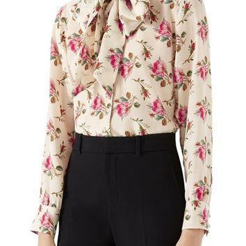 Gucci Rose Print Silk Tie Neck Blouse | Nordstrom