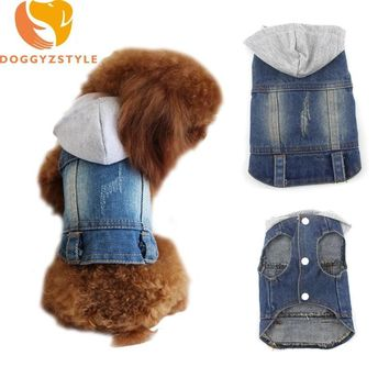 Trendy Jean Dog Hoodies Vest Summer Pet Clothes Puppies Cat Denim Personalized Jacket Teddy Chihuahua Casual Apparel DOGGYZSTYLE AT_94_13