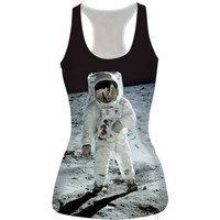 Astronaut Printed Tank Top Summer Sports Vest for Women