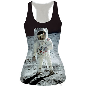 Womens Astronaut Prined Slim Tank Top Casual Sports Vest for Summer Free Shipping
