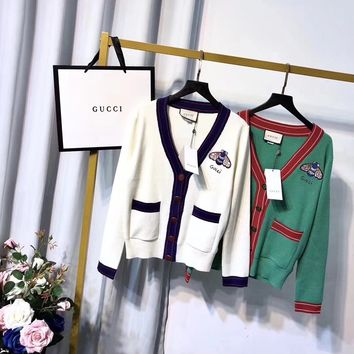"""Gucci"" Women Small Rabbit Embroidery Stripe V-Neck Knitwear Cardigan Long Sleeve Sweater Coat"
