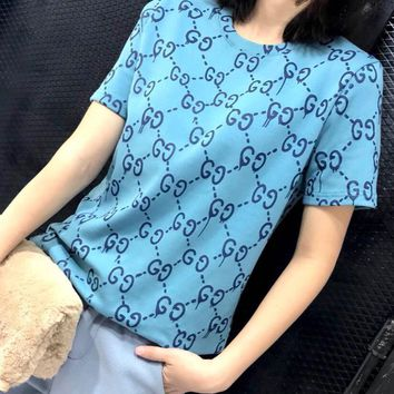 Gucci Popular Women Round Collar Letter Print Pullover Top T-Shirt Blouse Blue