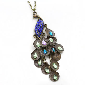 New Arrival Shiny Gemstone Peacock Vintage Necklace = 4806951684
