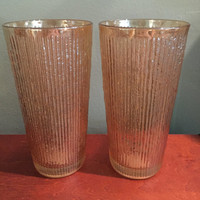 Pair of Vintage Gold Retro Drinking Glasses