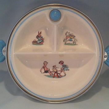Plate, Baby Dish, Divided, 1950's, Food Warmer by Majestic Products made in USA