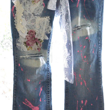 SALE Women's embellished jeans, Boho lace jeans, Custom Jeans Shabby lace country clothes, altered denim, Distressed jeans, true rebel cloth
