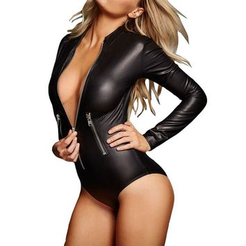 Women's Sexy Black Leather Long Sleeve Zip Up Bodysuit