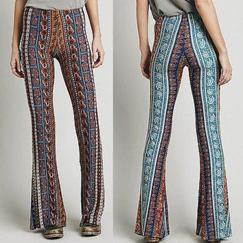 New Vintage High Waist Bell Bottom Long Flare Pants Stretchy Boho Hippie S M L XL