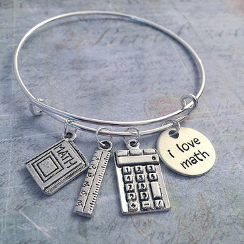 I Love Math Expandable Bracelet - Fits WRIST SIZE : 7.0 to 8.5 inches - Math Jewelry - Mathematician Jewelry - Pi Jewelry