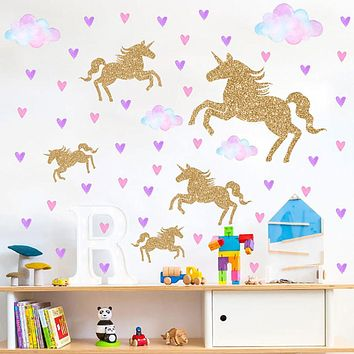 Colorful Clouds And Golden Horses Wall Stickers - Words & Quotes Wall Stickers / Plane Wall Stickers Characters Study Room / Office / Dining Room / Kitchen