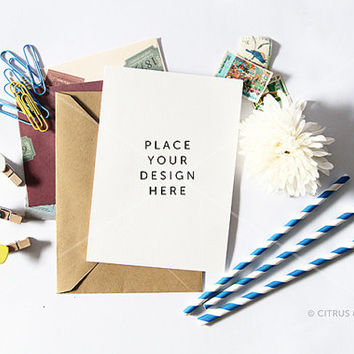 Styled Stock Photography - Product Presentation - Design Mock Up for Stationery or Print -  Chrysanthemum & Portrait Card on White Desktop