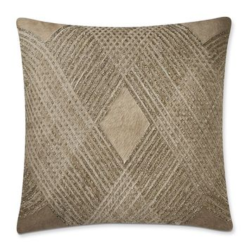 Lazarine Embellished Hide Pillow Cover, Champagne