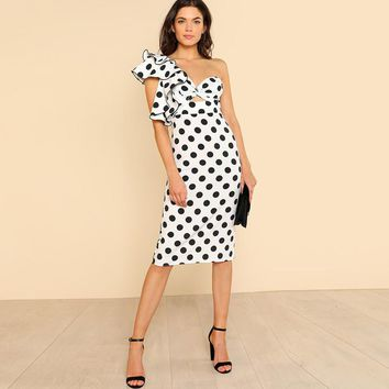 Sexy Party Dresses Backless Asymmetrical  High Waist Pencil Dress Twist l Polka Dot Dress