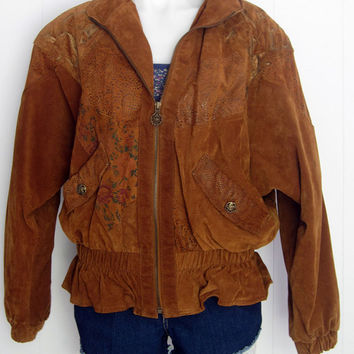 Free Shipping Vintage 80s Womens Floral Paisley Patchwork Soft LEATHER Bomber Loose JACKET Coat S