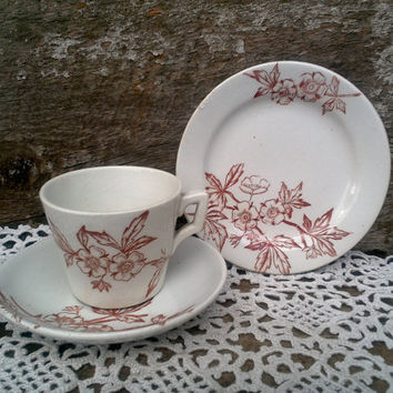ANTIQUE Childs Red Floral SET OF 3 Tea Cup, Saucer, Plate Set, Red/Maroon Transferware, Serving, Childs China Circa 1800s, Ironstone