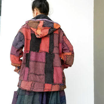 J7,Jacket Hoodie Patchwork, Unique Double Layer,Boho Style 100% Cotton  Stone Washed.