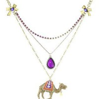 "Betsey Johnson ""Morocco Adventure"" Camel 3-Row Necklace"