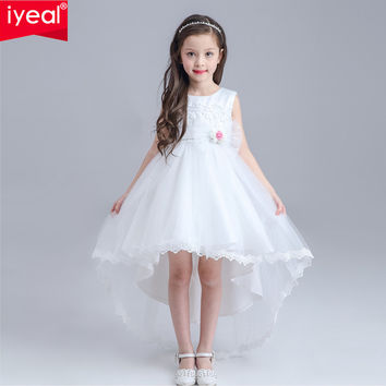 Formal Lace Girl Communion Party Prom Princess Pageant Bridesmaid Wedding Flower Girl Dress with Full Length Long Train