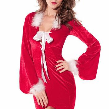 PEAPUNT 2016Newly Winter Party Club Red Christmas Costumes Sexy Drag Back Mistress Long Santa Dress For Women New Year Clothes LC7210