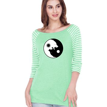 Yoga Clothing For You Yin Yang Wolves Striped Contrast 3/4 Sleeve Yoga Tee Shirt