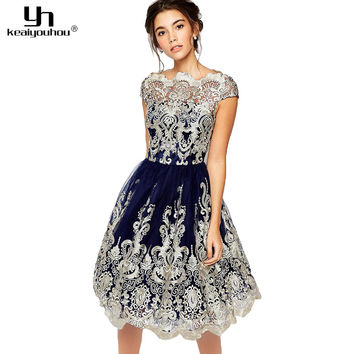 keaiyouhou 2017 Summer Women Dress Vintage Rockabilly Floral Embroidery Lace Dresses Elegant Evening Party Dress Women Clothes