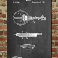 Gibson Mandolin A- Model Patent Poster