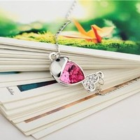 MP Cute Fish Shape Pendant with Rhinestone Swarovski Element Necklace Color Rose Red X0527
