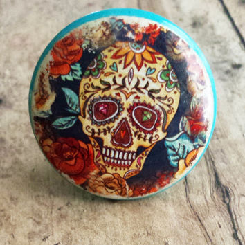 Sugar Skull Knob Drawer Pulls, Diamond Eyes, Flowers, Birch Wood, Handmade Cabinet Pull Handles, Warm Colors, Dresser Knobs, Made to Order
