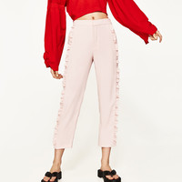 FLOWING FRILLED TROUSERS