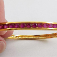 Gold Plated Ruby Bracelet, Hinged, Secure Clasp, 21 3mm Lab Rubies, 1980s Jewelry, Vintage Bracelet