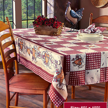 Hearts Stars Table Linens Country Inspired Tablecloth Napkins