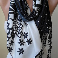 Black and White Scarf with Black Trim Edge - Silk Satin Fabric - Flowered and Polka Dots
