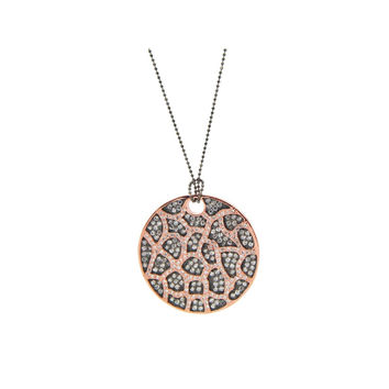 Sterling Silver Necklace in Rose Gold MicroPave Cubic Zirconia Pendant