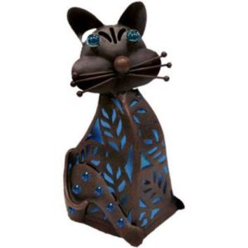15 in. Solar Sitting Cat with Blue Light, R1222GEMBX at The Home Depot - Mobile