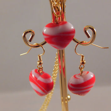 Red and White Swirled Glass Puff Heart Set - Necklace and Earrings for Valentine's Day, Gift for her under 20, candy cane striping handmade