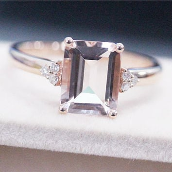 Emerald Cut 7x9mm Morganite Ring 14K Rose Gold Ring Diamond Wedding Ring Engagement Ring Anniversary Ring Gemstone Ring