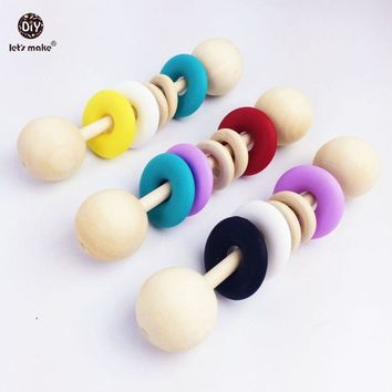 Let's Make Wooden Rattle Child 3pcs Sensory Baby Gym Toys Crib Silicone Donut Waldorf Wood Toy Shower Gift Baby Teether