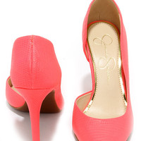 Jessica Simpson Claudette Coral Reef Snakeskin D'Orsay Pumps