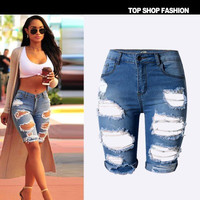 Slim Ripped Boyfriend Hole Denims Jeans Shorts _ 1178