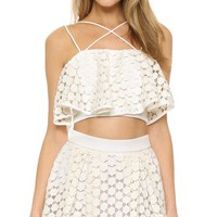 Geo Lace Crop Top