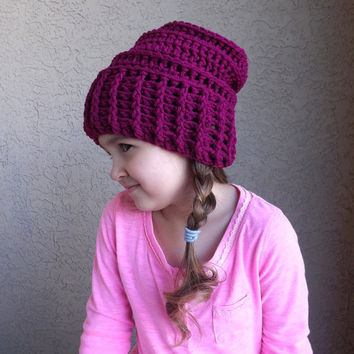 NEW! Adorable Crochet Kids Slouchy Hat with Natural Coconut Shell Button /TAN/, Kids Slouchy Beanie, Fashion kids slouchy hat 2014
