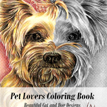 Coloring Book for adults, adult coloring page, Pet Lover, coloring book page, adult coloring book, coloring page, coloring dog, coloring cat