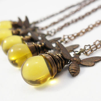 Honey Bee Necklace | Bridesmaid Jewelry Bumble Bee Necklace Sets